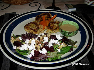 Chickpea cakes and salad