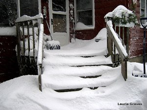 The front steps after one shoveling during Storm Juno