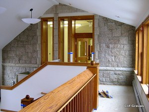 The beautiful lobby, with original stone work