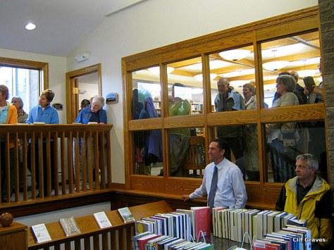 The happy crowd at the library