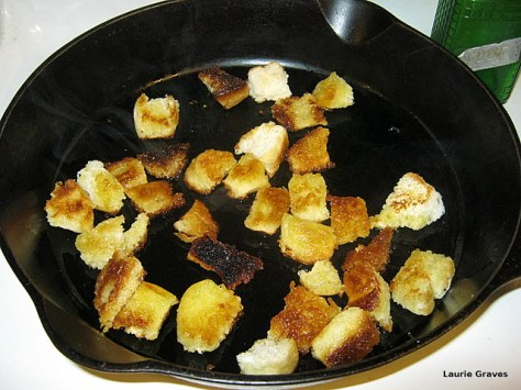 Sauté the cubed bread in olive oil. Add more oil as needed.