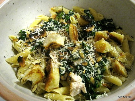 Voilà! Pasta with greens. (I used a leftover grilled chicken breast in this version.)