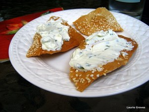 Homemade crackers with homemade cream-cheese spread
