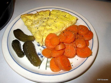 Frittata with cooked carrots and sweet gherkins
