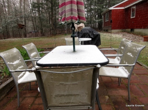 Snow on the patio table and chairs