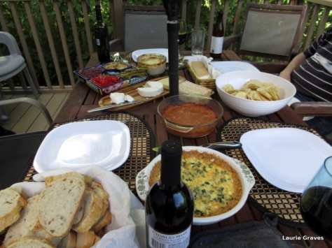 The meal on Jill's deck